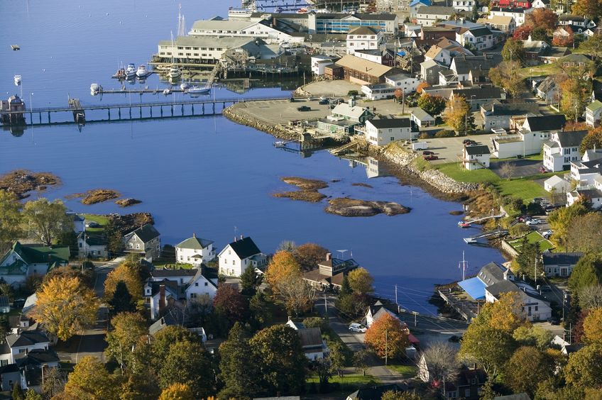 aerial view of trees and houses on the harbor in maine