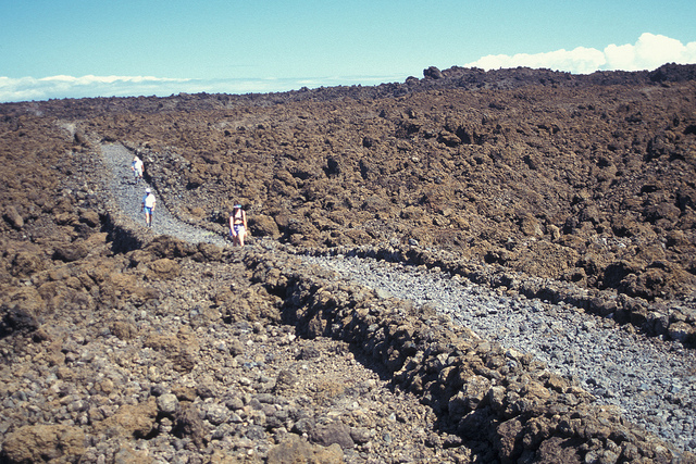The Hoapili Trail through a rocky landscape near La Perouse Bay in South Maui.