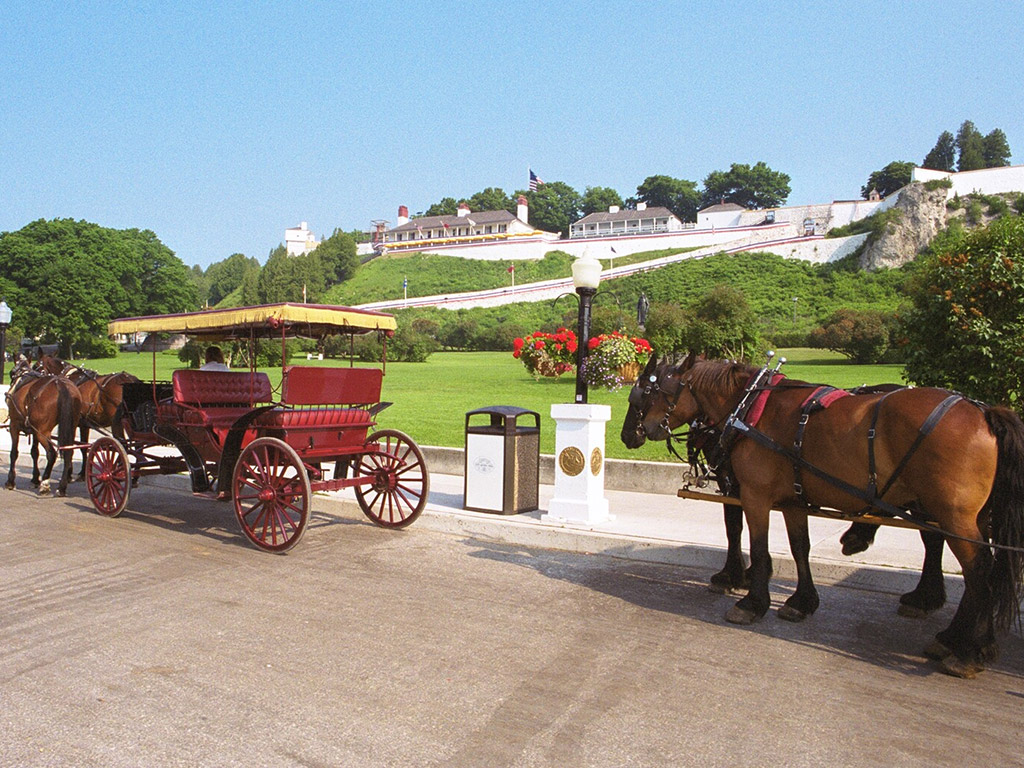 horse-drawn carriages sit in front of fort mackinac