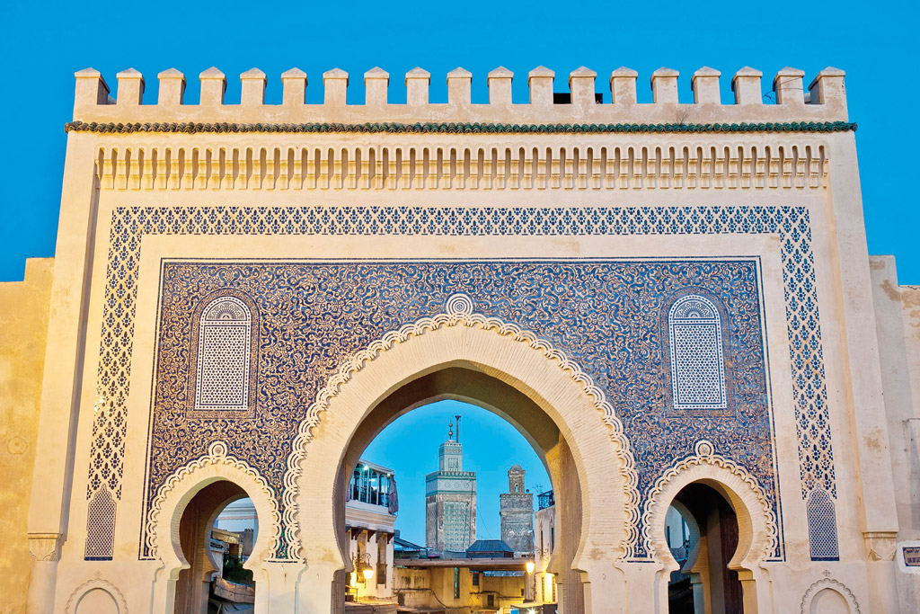 Moroccan wall in Fez layered with tile