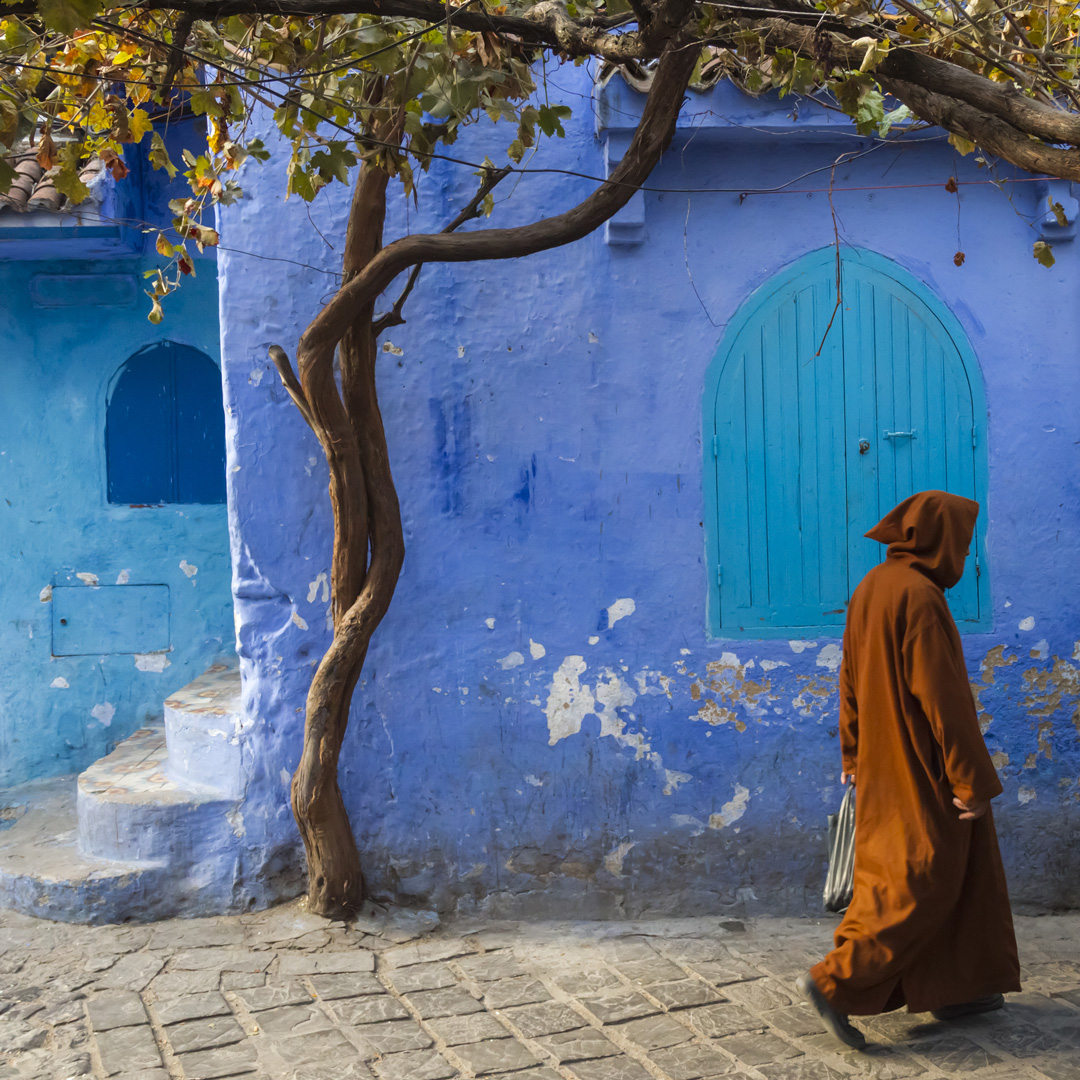 a main in a cloak walks by a tree and a blue wall in Chefchaouen