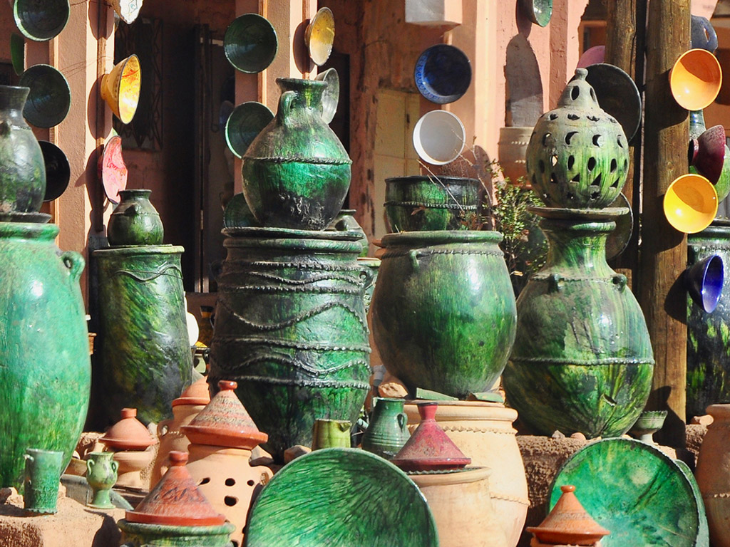 bright green pottery on display in Morocco