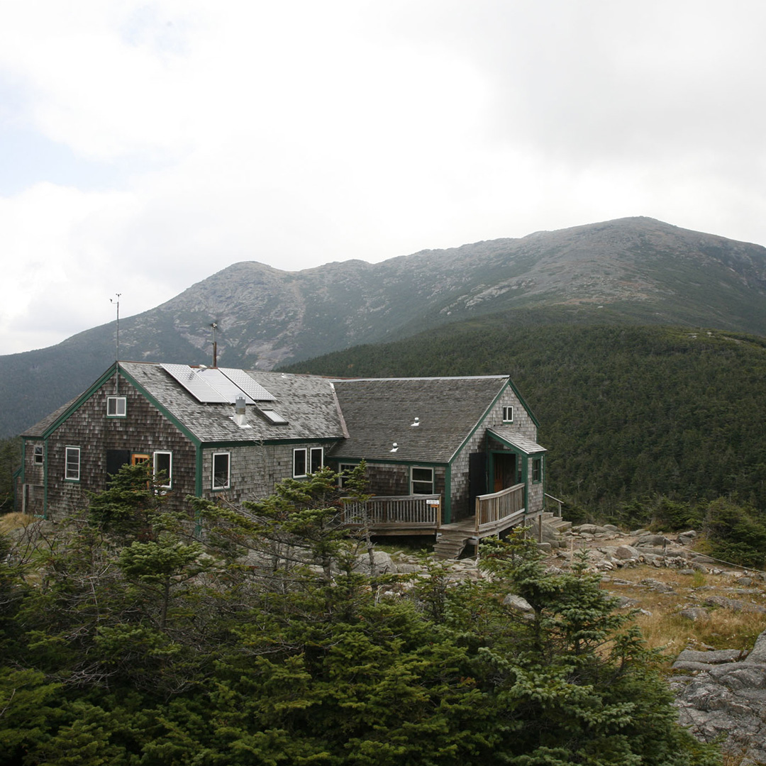 Greenleaf Hut atop a mountain in New Hampshire