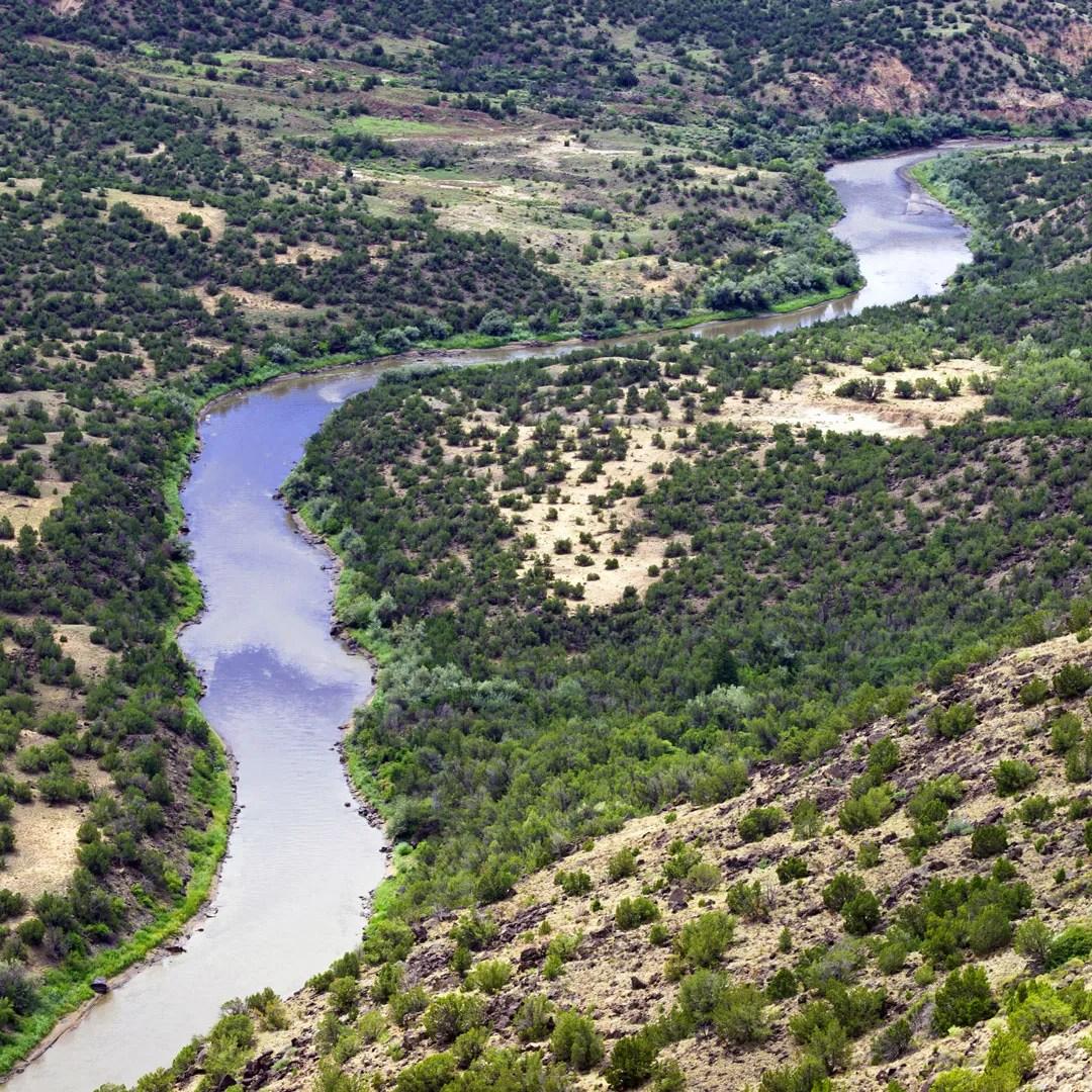 the Rio Grande winds through the Orilla Verde Recreation Area in New Mexico