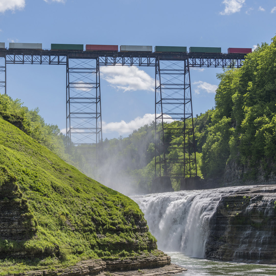 waterfall under a railroad trestle in upstate New York