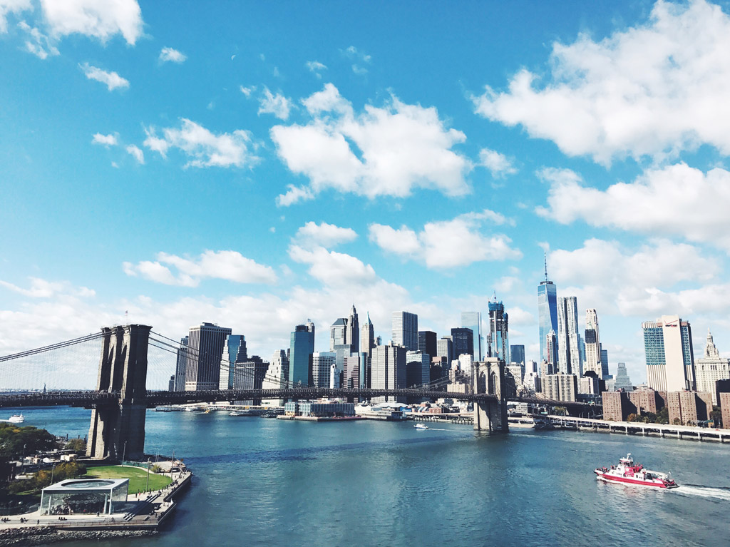 Photo of the New York City skyline taken with a mobile phone