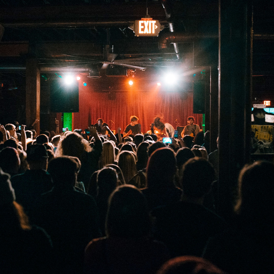 crowd of people watching a band perform at Mercy Lounge in Nashville