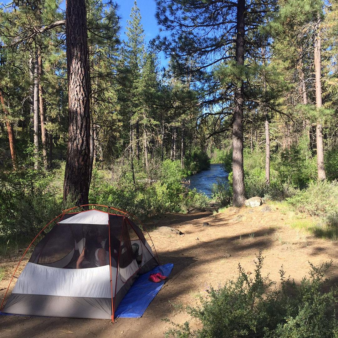 tent in Camp Sherman Oregon