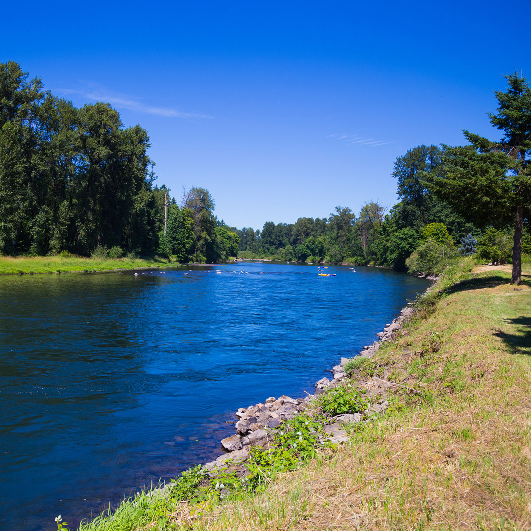view of the bright blue McKenzie River in Oregon