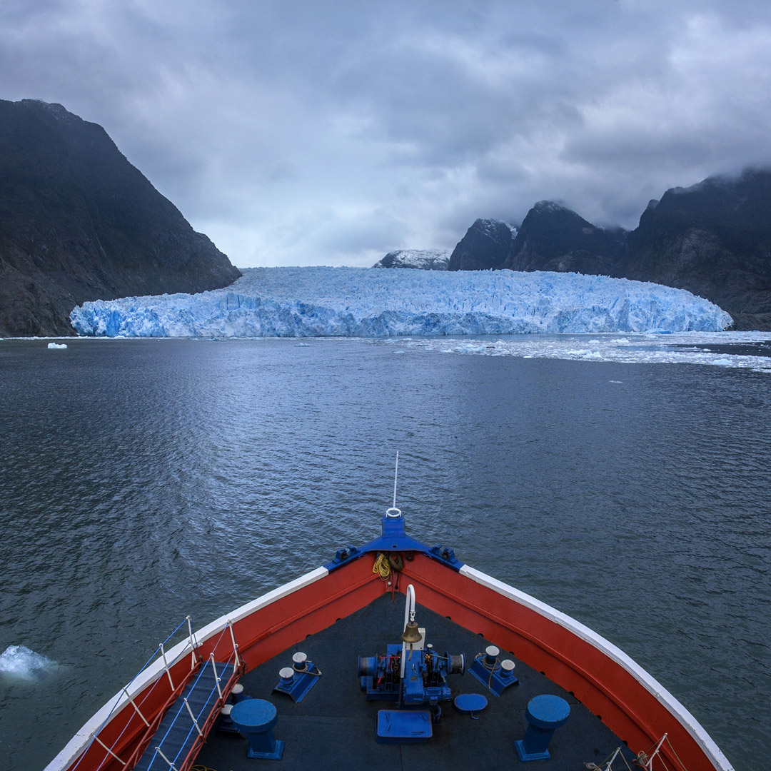 ship approaching the san rafael glacier in patagonia