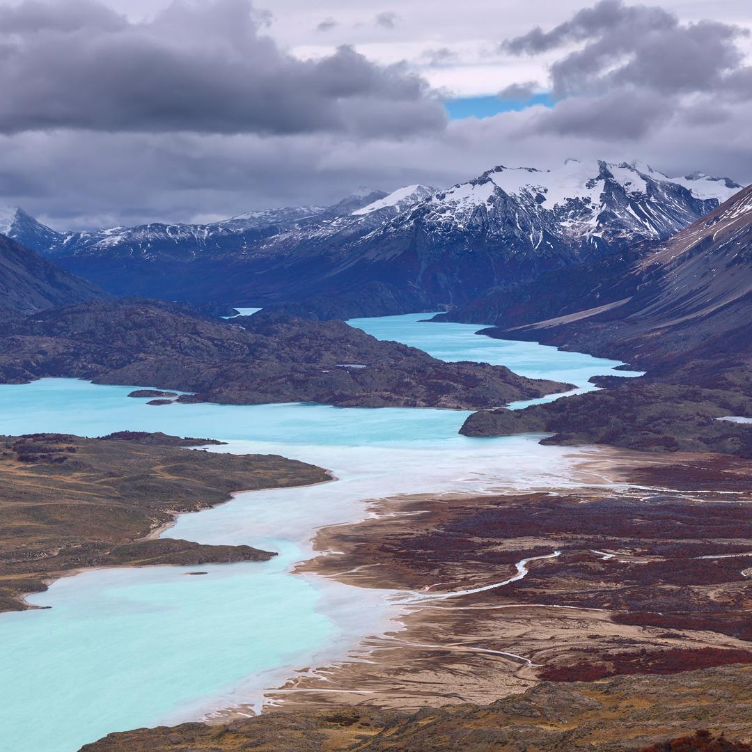 belgrano lake winds through the Sierra Colorada in Perito Moreno National Park in Argentine Patagonia