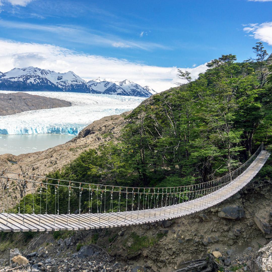 suspension bridge with views of glaciers in Torres del Paine