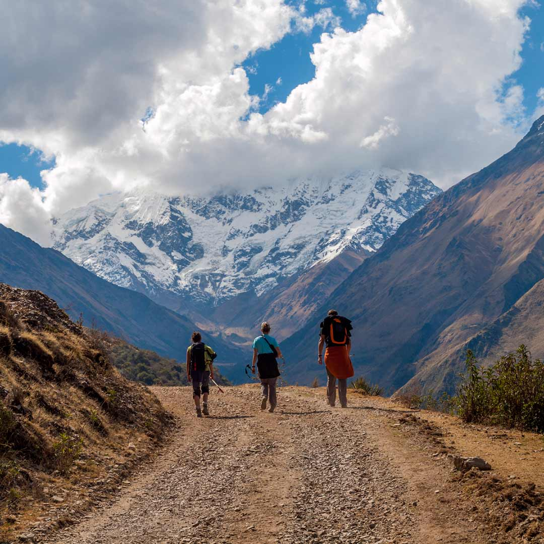 3 hikers on the Salcantay trail to Machu Picchu