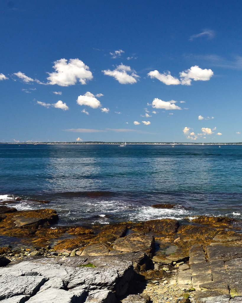 View from the rocky edge of the bay at Brenton Point State Park.