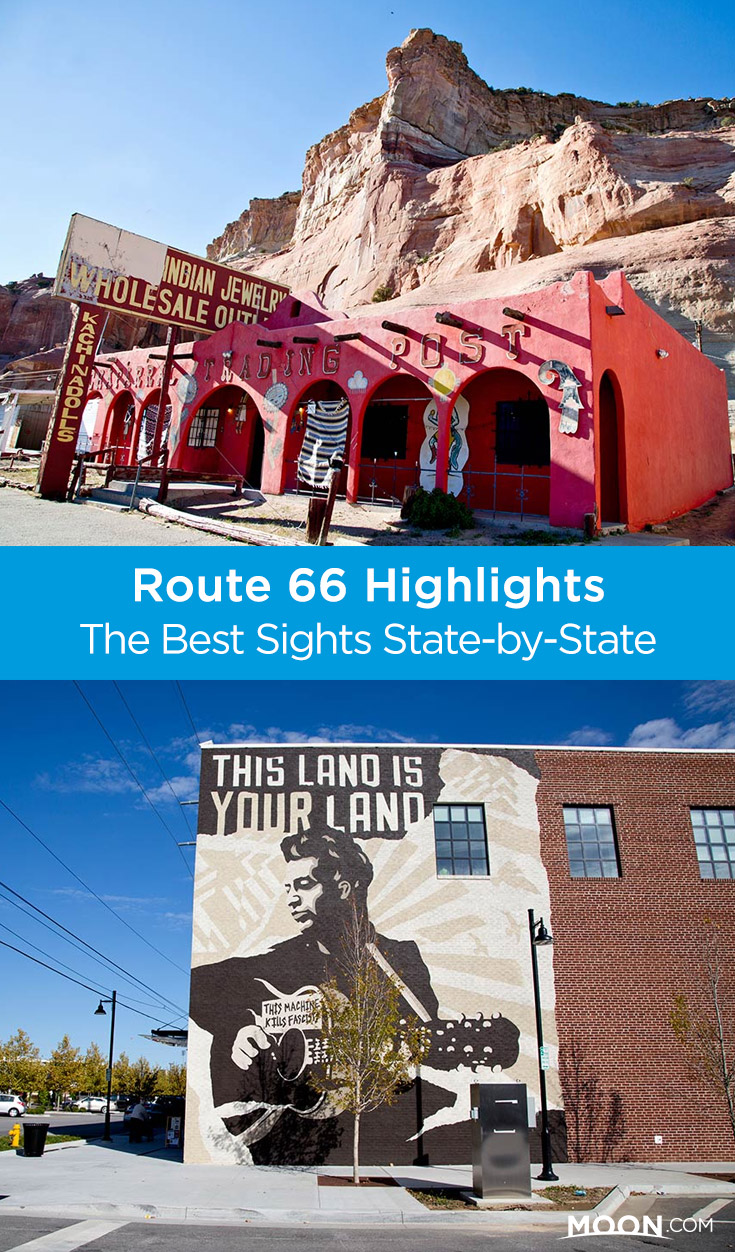 route 66 highlights and attractions pinterest graphic