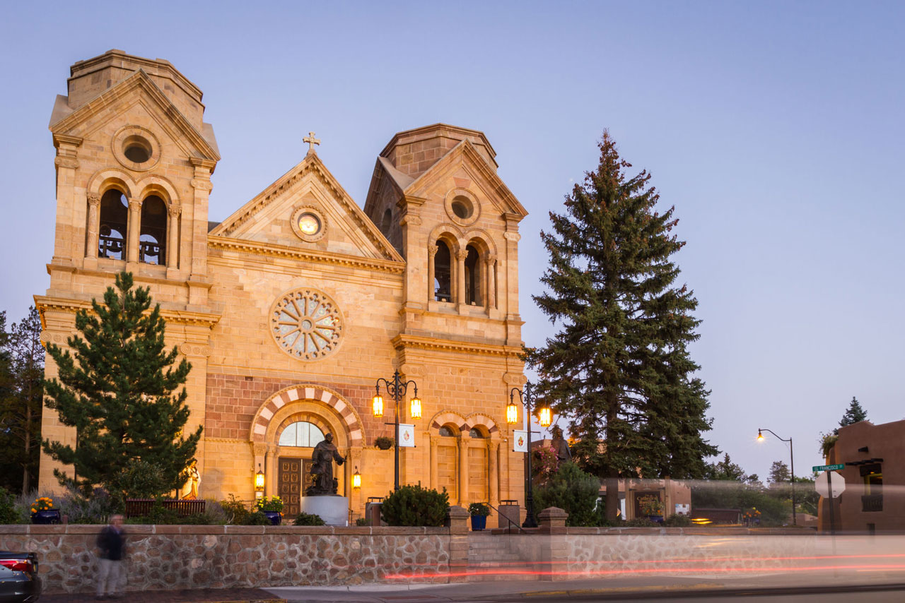 The front of Santa Fe's Basilica of St. Francis of Assisi.