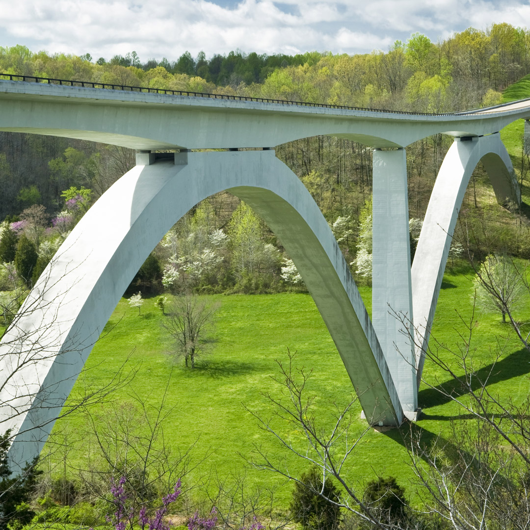 double arch bridge on the natchez trace parkway in tennessee