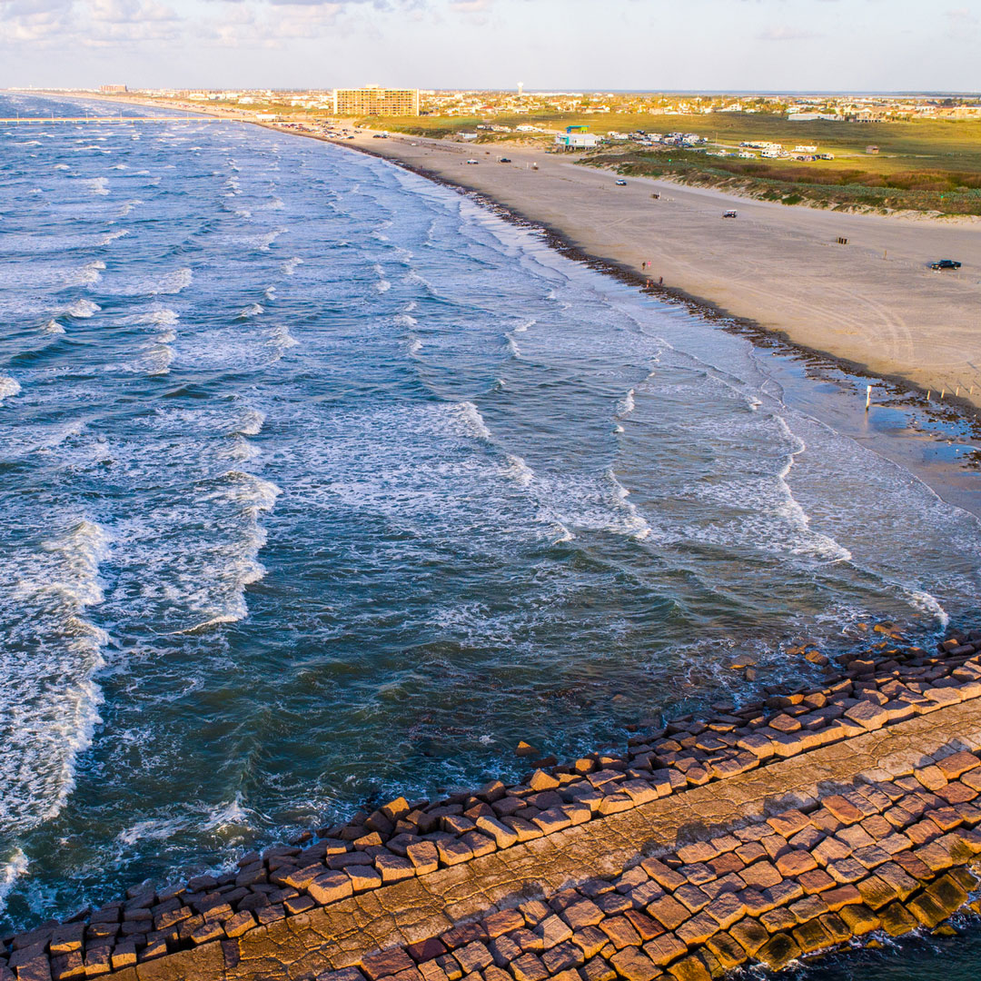 aerial view of the beach at Padre Island in Texas