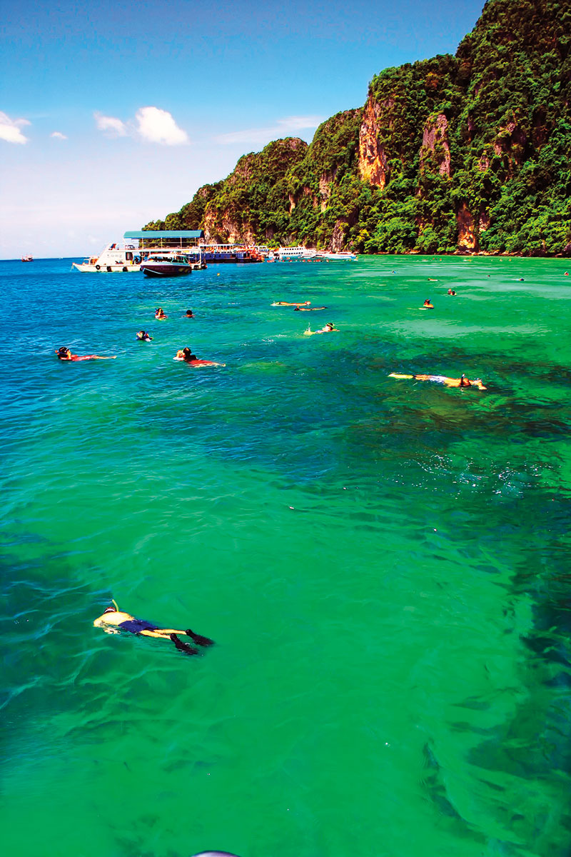 Snorkeling at Ko Phi Phi along the Andaman Coast.