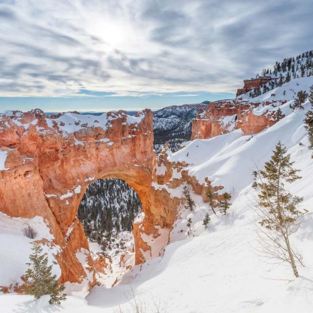 Natural Bridge in Bryce Canyon National Park during winter