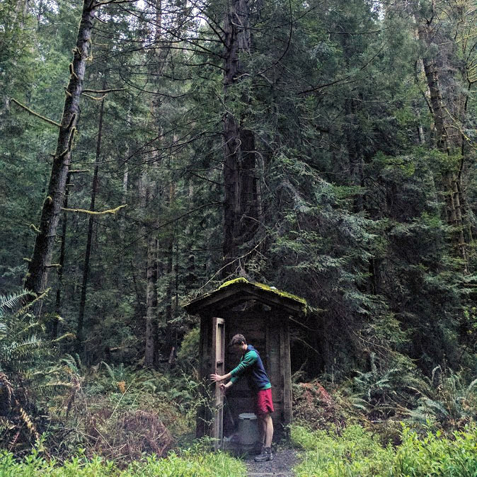 A man opens the door of an outhouse which is set underneath tall redwood trees in Van Damme State Park