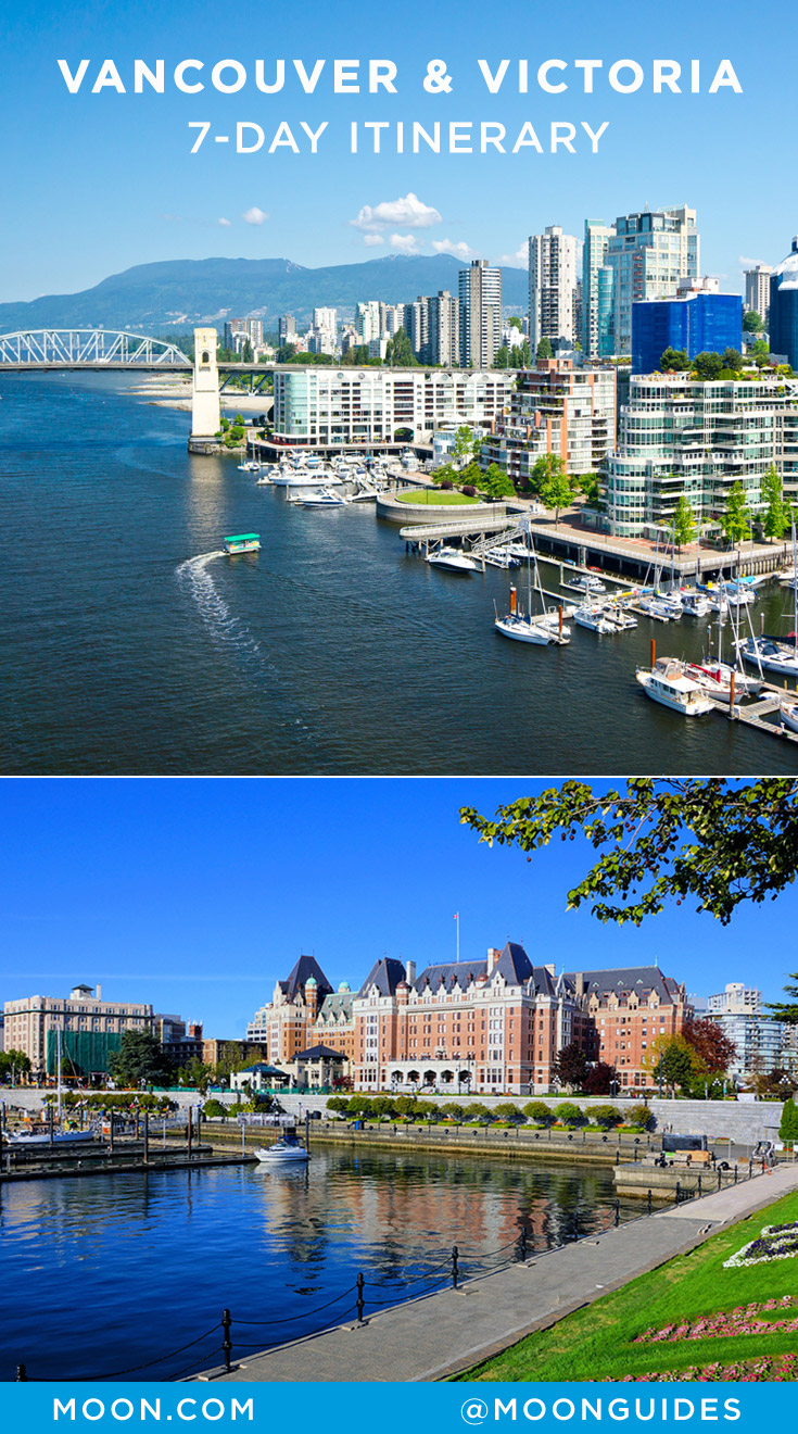 Pinterest graphic with photos of harbors in Vancouver and Victoria, British Columbia