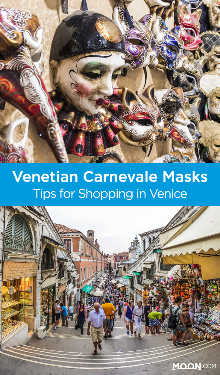 Vendors and craftsman selling glass, lace, and papier-mâché can still be found plying their trades across Venice. Check out these shop recommendations and tips when shopping for authentic Venetian Carnevale maskse.