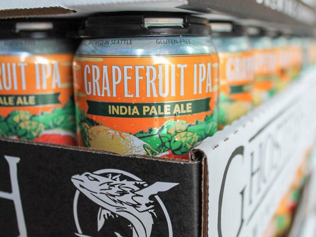 a flat of grapefruit ipa cans