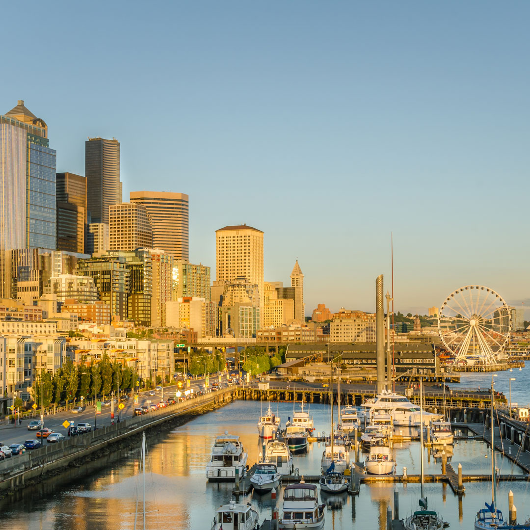 Seattle waterfront at sundown