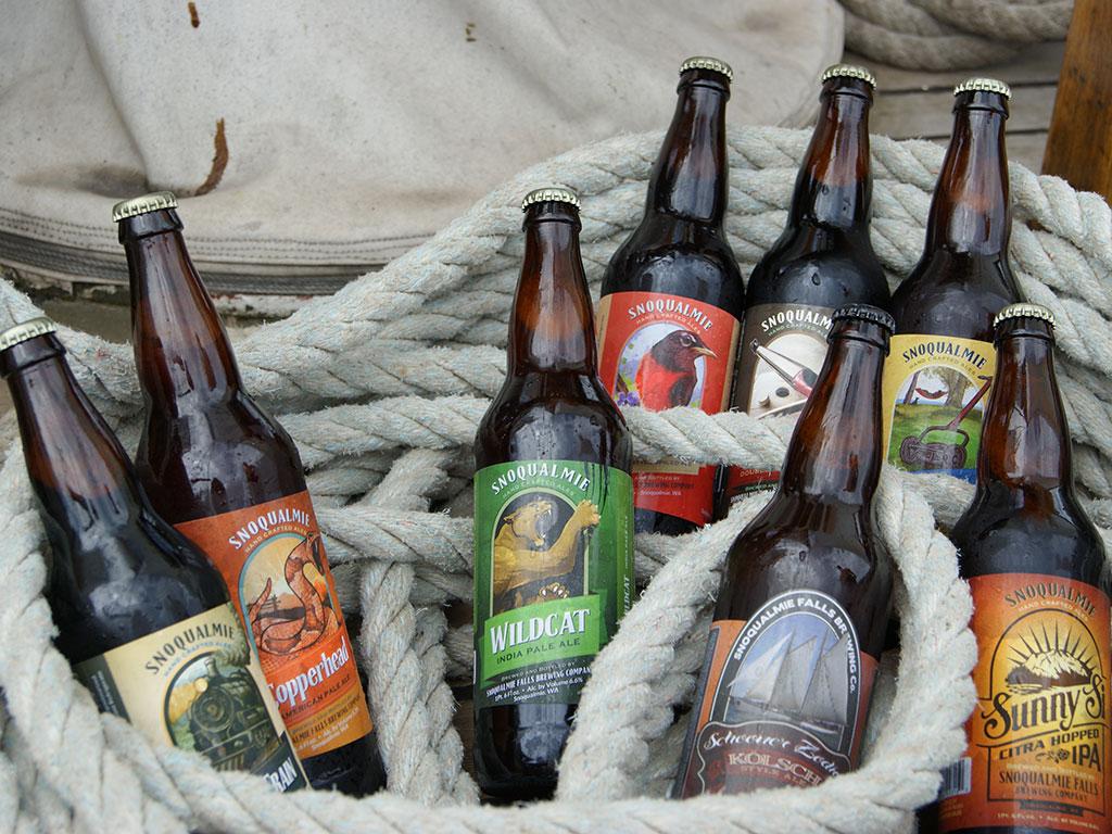 beer bottles entangled in rope