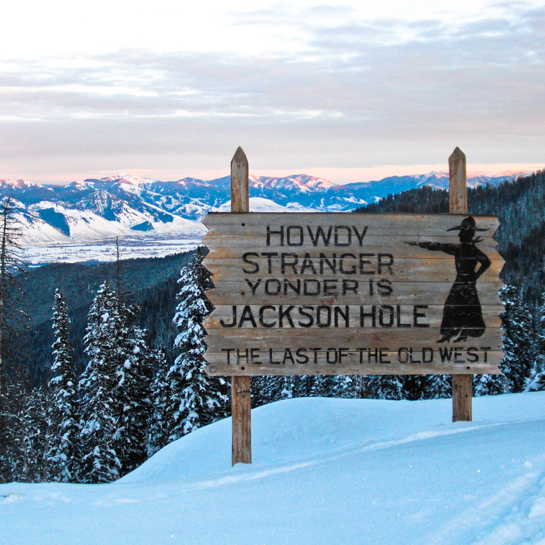 welcome sign at Jackson Hole in winter