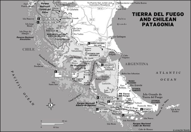 Map of Tierra del Fuego Chilean Plateau in Argentina