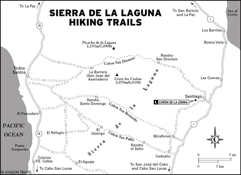 Map of Sierra de la Laguna Hiking Trails in Mexico