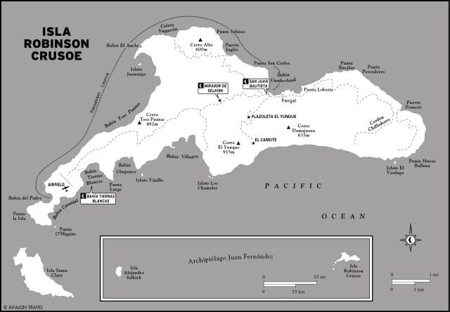 Map of Isla Robinson Crusoe, Chile