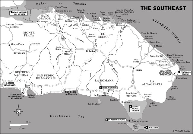 Map of The Southeast of Dominican Republic