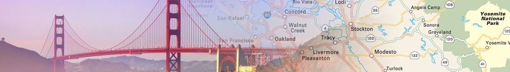 Travel map header featuring photo of the golden gate bridge collaged with a travel map