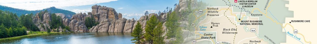 Travel map header featuring photo of Custer State Park collaged with travel map