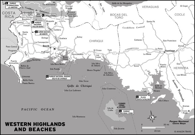 Map of beaches and Panama's Western Highlands
