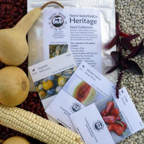 array of seed packets with gourds and a cob of corn