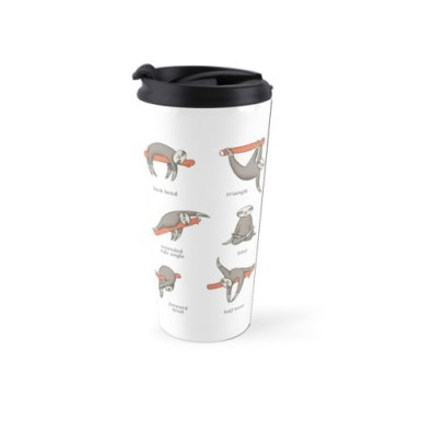 insulated white mug with drawings of sloths