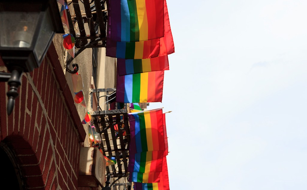 Rainbow flags hung above Stonewall Inn in New York
