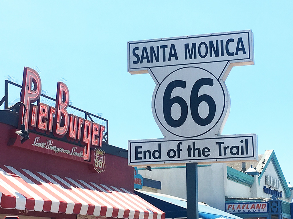 End of the Trail sign for Route 66 at the Santa Monica Pier.