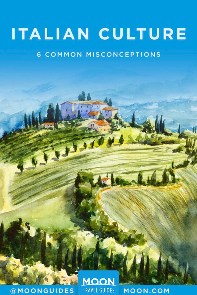 Painting of Italian countryside. Pinterest Graphic, Italian Culture Q&A.