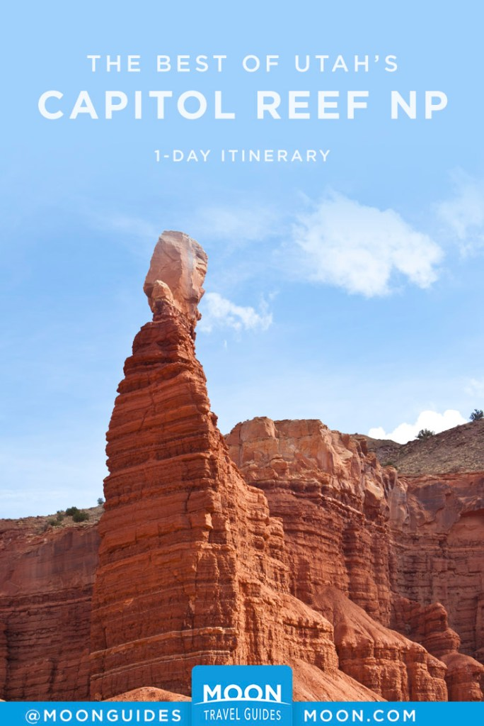 Red rock spire in Capitol Reef NP. Pinterest Graphic.