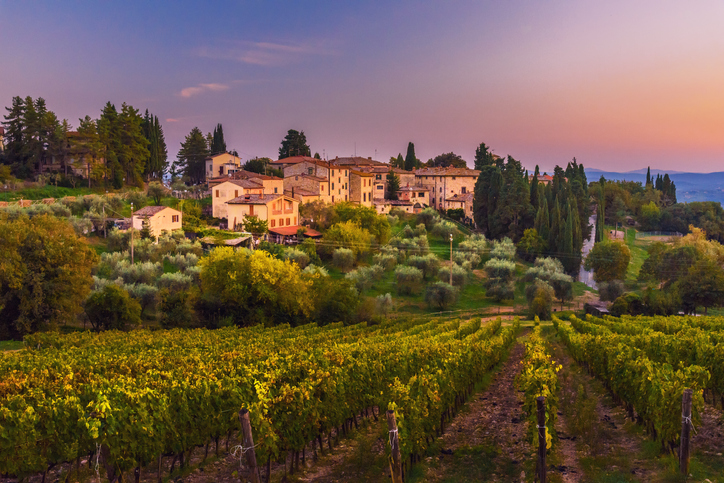 Sunset over Castellina in Chianti.