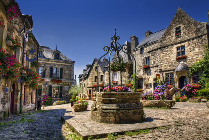 City Square of Rochefort en Terre, Brittany