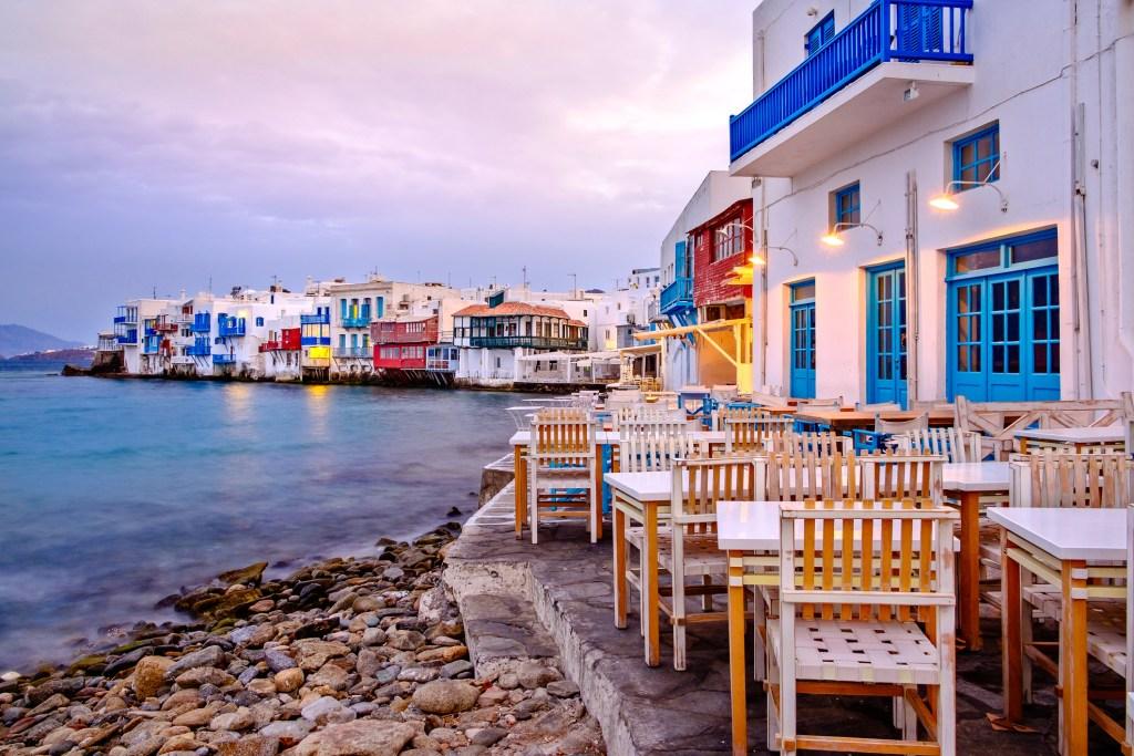 Beautiful sunrise at Little Venice on Mykonos island, Greece