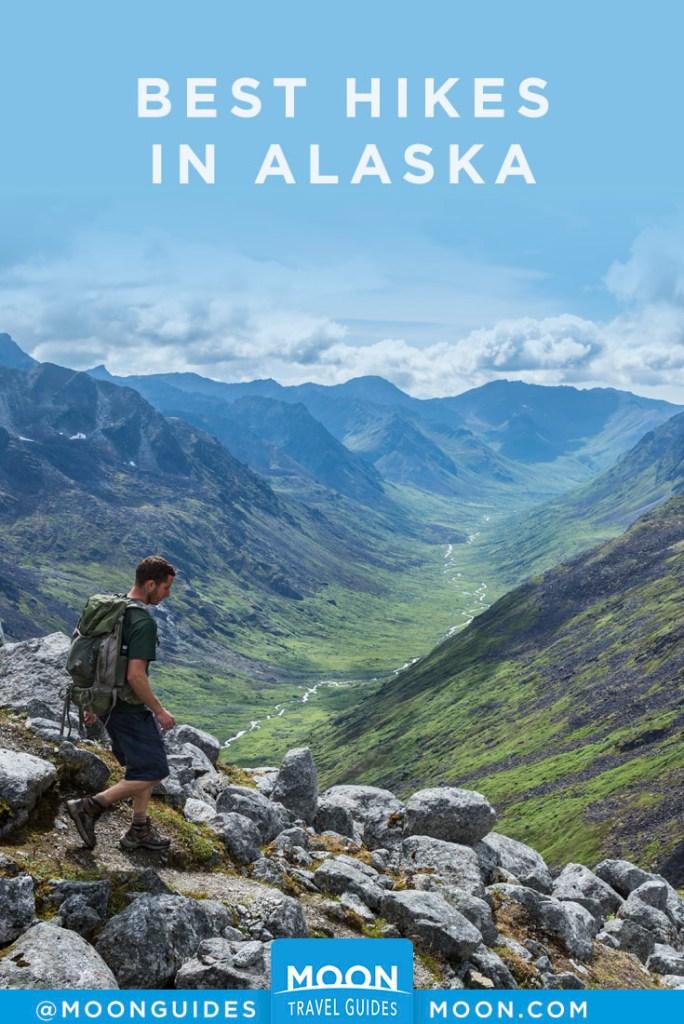 Man hiking Hatcher Pass, Alaska. Pinterest Graphic.