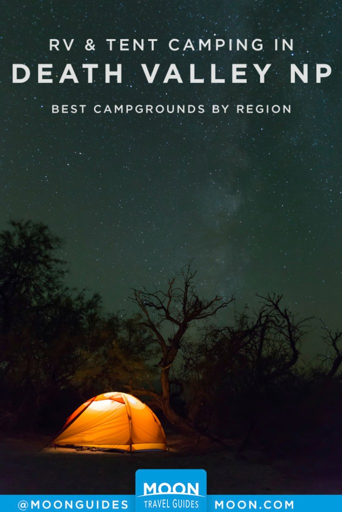 Lighted tent at night under the Milky Way. Pinterest graphic.