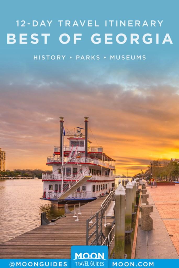 Riverboat docked in Savannah, GA. Pinterest Graphic.